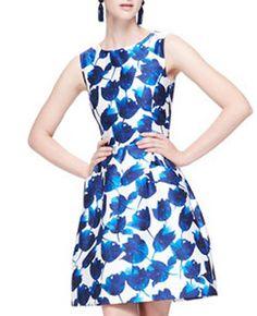 Blue Tulip Print Sleeveless Dress