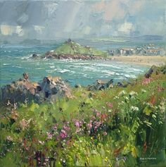 British Artist Rex PRESTON - Porthmeor Beach, St. Ives