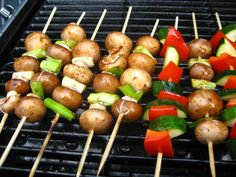 We love vegetables on the barbeque. If you put them on a stick, they look festive and are easy to eat. #lunch #barbecue #meat #grill