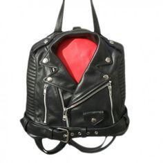 Deniro - Moschino Biker Jacket Women Leather Backpack Black