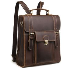 102ee46be839 Crazy Horse Cowhide Genuine Leather Bag For Men Vintage Laptop Backpack  Famous Brand Business Messenger Shoulder Bag New