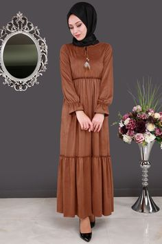** SONBAHAR / KIŞ ** Yakası Bağcıklı Süet Elbise Tarçın Ürün kodu: BH2148 --> 99.90 TL