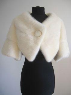 Vtg couture white ivory blonde real fur mink bolero jacket stole wrap shrug cape