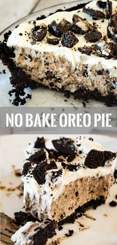Oreo Pie is an easy no bake dessert recipe using vanilla instant pudding and a store bought Oreo crust. The creamy pudding and Cool Whip filling is loaded with white chocolate and crushed Oreo cookies. # pudding Desserts Oreo Pie - This is Not Diet Food No Bake Oreo Pie, No Bake Oreo Dessert, Oreo Dessert Recipes, Tiramisu Dessert, Chocolate Desserts, Snack Recipes, Chocolate Cookies, Recipes With Oreos, Oreo Pie Recipes