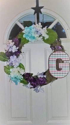 Personalized G Hydrangea Wreath Spring Summer Grapevine Wreath Purple Frost Blue Mint Green White Hydrangea Flwoers Wreath Wedding Wreath by on Etsy Hydrangea Wreath, Floral Wreath, Wedding Wreaths, Purple Ribbon, Metal Letters, Floral Flowers, Grapevine Wreath, Grape Vines, Mint Green