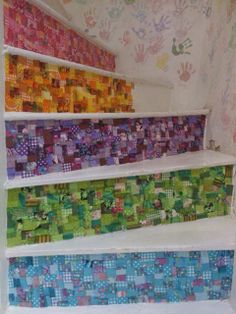 """We were given permission to share this photograph. Check out these hand papered stairs as decorated at """"The Pottery Place"""" & """"The Decopatch Place"""" in Witney, UK. The stairs were decorated using patches of glued Decopatch paper."""