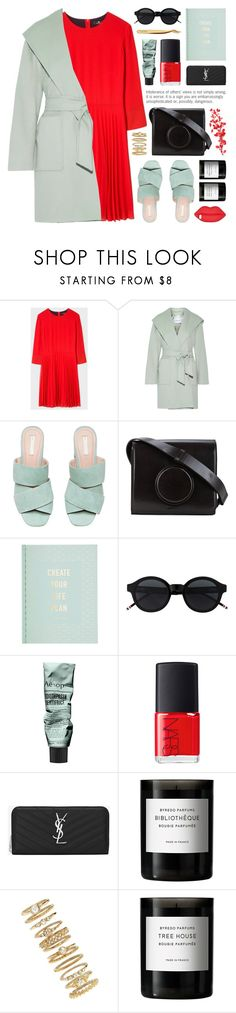 """""""pleated red dress"""" by jesuisunlapin ❤ liked on Polyvore featuring PS Paul Smith, MaxMara, Lemaire, kikki.K, Aesop, Lulu Guinness, NARS Cosmetics, Yves Saint Laurent, Byredo and Forever 21"""