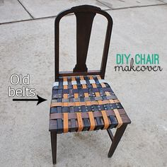 recycled belt chair makeover