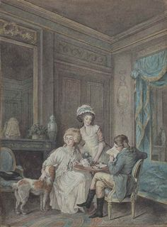 ATTRIBUTED TO JEAN-BAPTISTE MALLET (GRASSE 1759-1835 PARIS)  Couple sitting in a salon at the time of the tea feather and brown ink, watercolor, enhanced by white