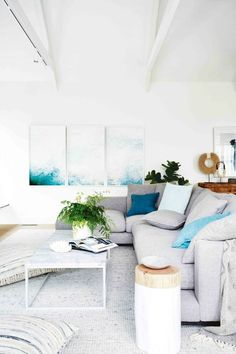 Take a Tour of Dea & Darren's Melbourne Home coastal-living-room-with-grey-sofa-and-blue-cushions-darren-and-deas-home Coastal Living Rooms, Coastal Homes, Living Room Decor, Living Spaces, Coastal Cottage, Coastal Interior, Coastal Farmhouse, Cottage Living, Living Room Artwork