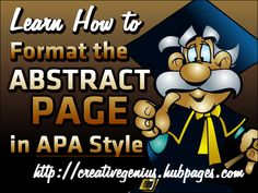 Learn how to format your Abstract page according to APA style.