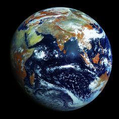 Earth's eastern hemisphere. This is a single megapixel image from Russia's Elektro-L weather-forecasting satellite.