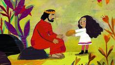 Une petite fille court vers Jésus. © Dessin d'Elise Mansot pour Prions en Eglise junior.