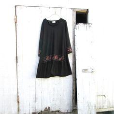 large  xlarge  Upcycled clothing / Funky Black Aline by CreoleSha, $72.00