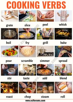 Cooking Terms: List of 20 Useful Cooking Verbs in English - ESL Forums English Sentences, English Vocabulary Words, Learn English Words, English Phrases, English Idioms, English Lessons, Verbs In English, How To Teach English, Academic Vocabulary