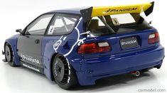 IGNITION-MODEL IG1051 Scale 1/18 HONDA CIVIC EG6 PANDEMTUNED VERSION 1991 BLUE YELLOW Honda Civic Hatchback, Honda Civic Si, Civic Ef, Ignition Model, Rc Drift Cars, Diecast Model Cars, Rc Cars, My Ride, Courses