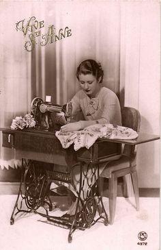 Edwardian girl with SEWING MACHINE dress maker photo postcard Ca 1930's