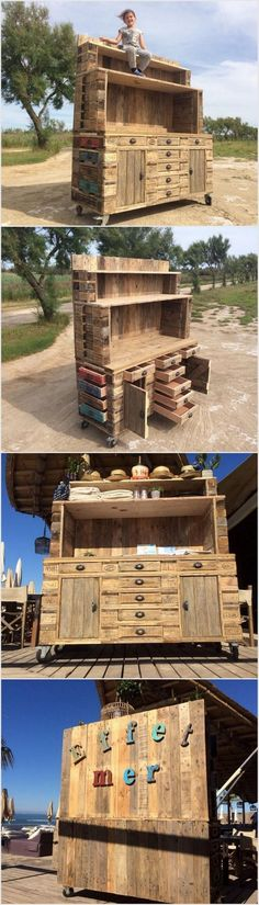 Moving to the next we have awesome wood pallet idea of pallet outdoor bar table. This is simply a giant bar table that might put you in a thought for a few seconds about reusing wood pallet once again. You can use this bar table for your kid's room that can be ideally used for keeping the toys and books. This bar table is comprised of a couple of drawers portion and shelves.
