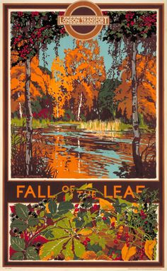 London Transport commissioned this poster in 1933. It was designed by Walter E Spradbery to promote the beauty of London's countryside in autumn. Spradbery, a specialist in landscape painting, painted a series of scenic views to represent the four seasons for London Transport posters. They all lovingly portrayed his home county of Essex.