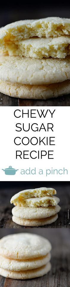 Sugar cookies make a favorite little cookie recipe for so many. Get this family-favorite chewy sugar cookie recipe that everyone is sure to love. // addapinch.com