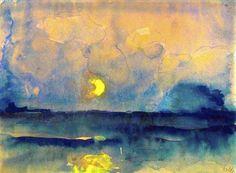 Emil Nolde (1867-1956)  Buiten zeegezichten, portretten en religieuze onderwerpen, schildert Nolde honderden aquarellen van bloemen en landschappen. Hij maakte portretten, landschappen, figuurstudies, caféscènes etc. en bediende zich van olieverf, etstechniek en houtsnede. Kenmerkend voor het werk van hem zijn forse, schetsmatige lijnen en felle kleuren. Als graficus maakte hij talrijke houtsneden, litho's en etsen.