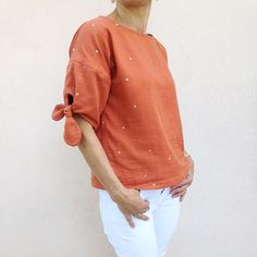Blouse Slow Sunday in Atelier Brunette Stardust Chestnut by evepoisplume I Am Patterns, Sewing Patterns, Blouse, Chef Jackets, How To Make, How To Wear, Instagram, Sunday, Outfits
