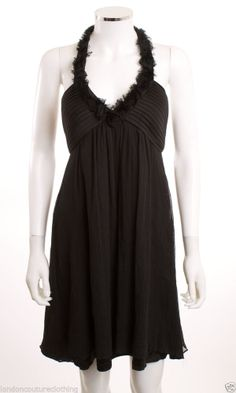 MAX AND CLEO V-NECK ROSETTES HALTER TUCKED EMPIRE WAIST SILK BLACK DRESS SZ 6