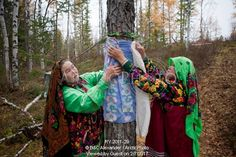 Image of irina purgurchina (left) & her friend vera, khanty women, tie material round a sacred tree that protects her youngest son. the material sybolises her son's clothing. yamal, western siberia, russia. by ArcticPhoto