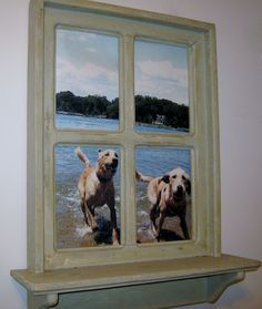 """Shabby Chic Faux Window Picture Frame, have a favorite pet photo we can put it in one of our frames.  Comes in white, robins egg blue, navy blue, sage green, basket beige, dark brown, black and driftwood stain.  This photo was taken under the Naval Academy Bridge in Annapoli, MD, 20"""" x 26"""" has 2 sawtooth hangers on back ready to hang.  $64.99"""
