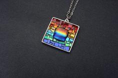 Sunset at the Peir-Artisan Mosiac Pendant -One of a Kind Rainbow glass