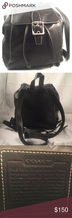 COACH black leather backpack. Beautifully loved backpack with no flaws found. Buttery soft black leather with silver colored metal buckles. Front buckle is magnetic. Interior spotless with one zippered pocket and 2 other pockets.  Smooth black leather closure strap which cinches up purse.  Non smoking home.  Thoroughly cleaned throughout and leather has been conditioned.  This backpack would make a great accessory for summer vacations and/or campus life. Coach Bags Backpacks