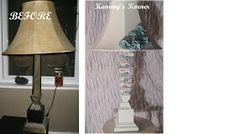 Kammy's Korner: Lamp Redo With Paint And Fabric Scraps. Painted the lamp AND the shade! Lamp Redo, Lampshade Redo, Lampshades, Shabby Chic Floor Lamp, Furniture Makeover, Diy Furniture, Floor Lamp Makeover, Home Crafts, Diy Home Decor