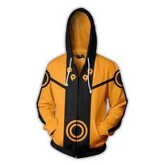 Naruto Logo Orange Black Zip Hoodie