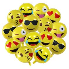 """Amazon.com: 18"""" Party Emoji Mylar Balloon, NALAKUVARA Bright Yellow Clolor 18 inch Smiley Face Latex Balloons for Party, Birthday or Holiday Decoration (15 PACK): Toys & Games"""