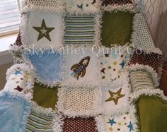 baby boy rag quilt ~ Rocket to the Stars in blue green and brown