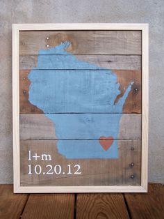 Reclaimed Wood  - Love Is Where the Wedding Was - Choose Your City and State - Customizable Wedding Gift. $130.00, via Etsy.