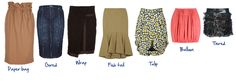 Skirt Styles. cute post of the different shapes