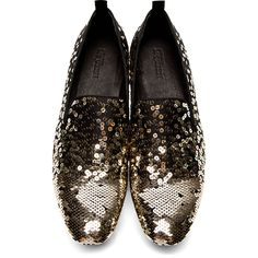 Alexander McQueen Black Gold Sequined Loafer Shoes