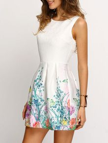 White Sleeveless Floral Print Smock Dress