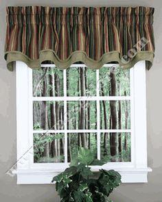 Montego Stripe Bradford Valance - Black - Ellis - Kitchen Valances....swagsgalore.com. matches the living room couches