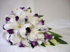 WHITE LILY, WHITE, PURPLE, MAUVE & SILVER ROSE TEARDROP BRIDAL BOUQUET by bridalcreationsbyjulie, via Flickr