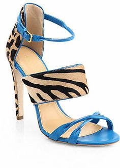 Sergio Rossi Donyale Animal-Print Pony Hair & Leather Sandals on shopstyle.com