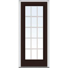 Milliken Millwork 32 in. x 80 in. Classic Clear Glass GBG Full Lite Painted Fiberglass Smooth Prehung Front Door, Polished Mahogany