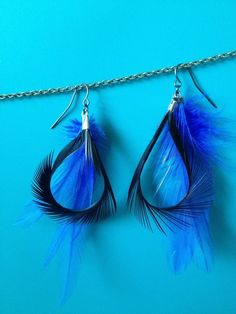 Electric Blue & Black Goose Biot Hoop Feather Earrings by FearlessFeathersBCD, $11.00 by Kathy Nethken Daniels