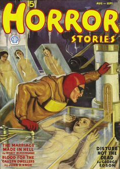 Horror Stories magazine pulp cover art, woman women dame captive hostage kidnap man mad scientist lab experiment tank water drown danger.  The Phantom needs a date!