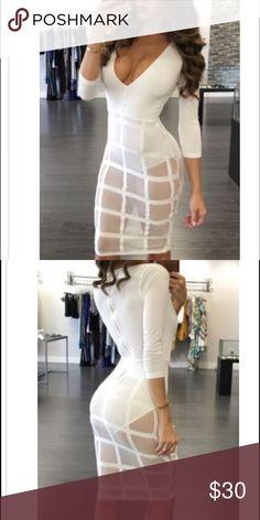 White sheer bodysuit dress small NWOT White sheer bodysuit dress small NWOT Dresses