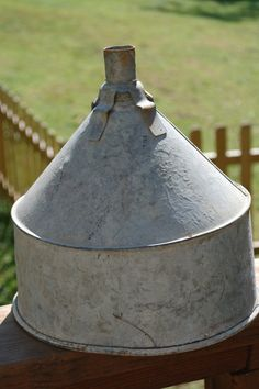 Large Vintage Galvanized Funnel by PatchHappyPauper on Etsy,