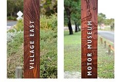 Outdoor park signage design for Whiteman Park. Close-ups of wood panels with wood textures and typography by Dessein, Australia.