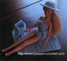 Tenue de plage au crochet pour poup�e Barbie