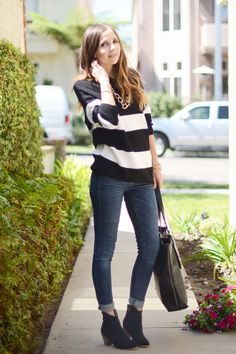 how to wear ankle boots - Striped Sweater and Jeans
